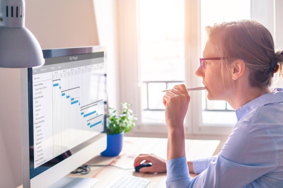Project manager using Gantt chart, tasks planning and scheduling, computer
